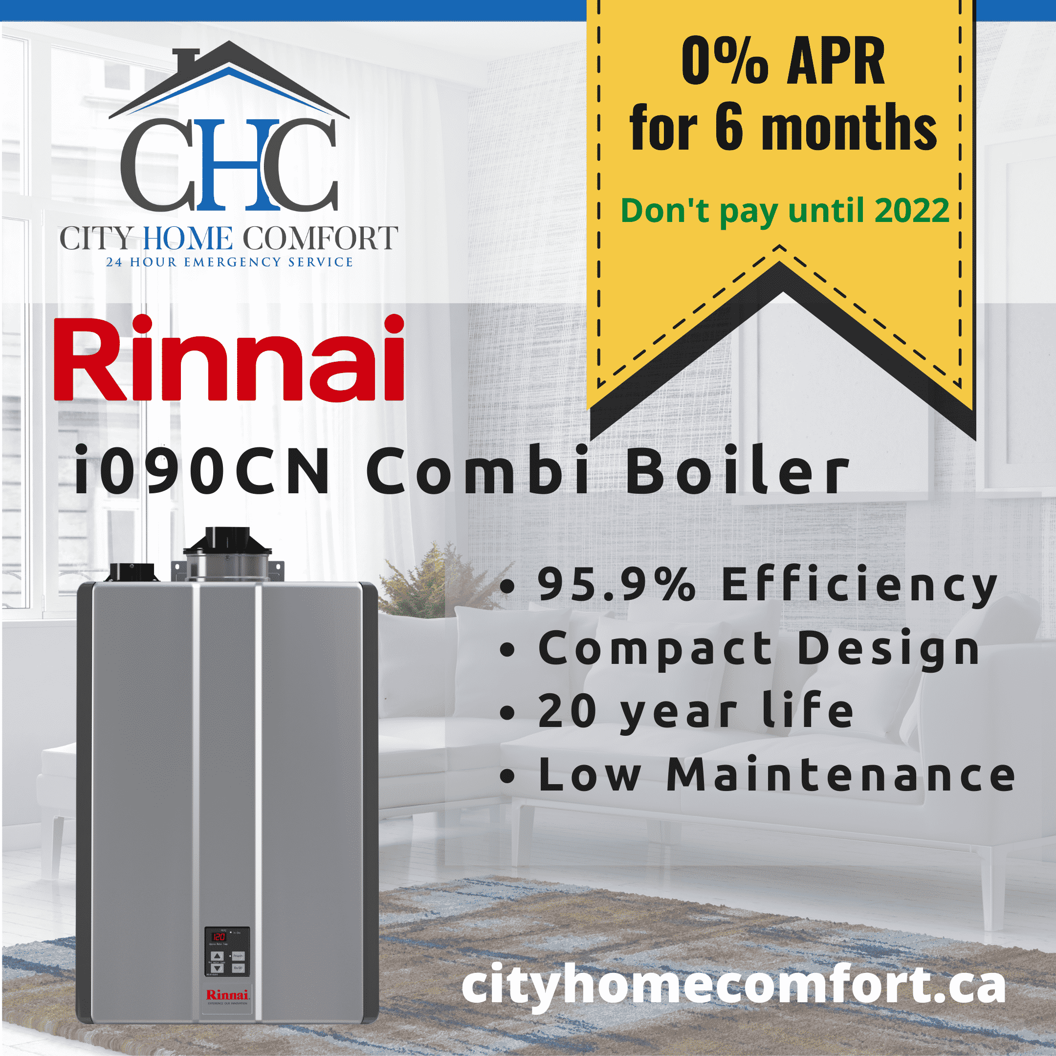 6 months at 0% for Rinnai